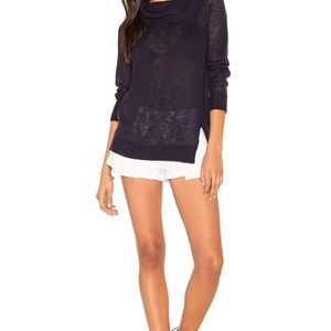Michael Stars Off Shoulder Summer Sweater Navy